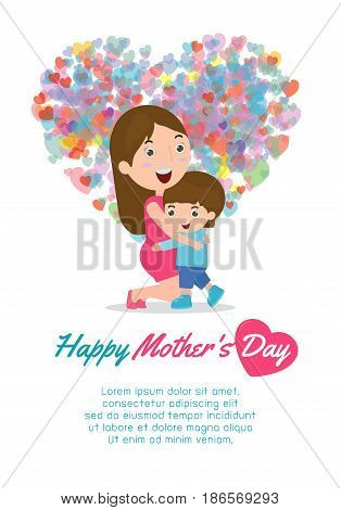 Beautiful mother with kid . Card of Happy Mothers Day. Vector illustration with beautiful women and child, happy mothers day card vector illustration