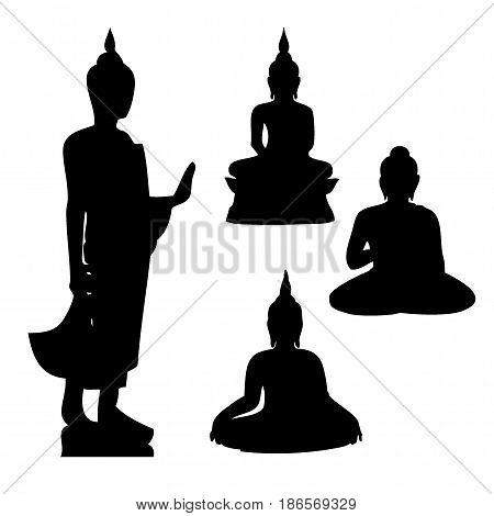 Buddha icon, Buddha silhouette, Silhouette of Thai Buddha - vector