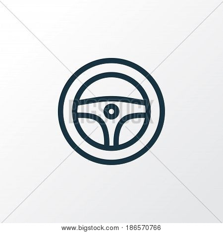 Steering Wheel Outline Symbol. Premium Quality Isolated Rudder Element In Trendy Style.