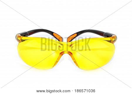 Yellow Safety Glasses Isolated On The White Background