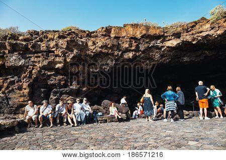 Lanzarote, Spain, March 31, 2017: People Waiting To Descend Into A Cave Cueva De Los Verdes, Volcani