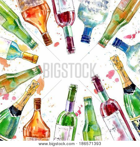 Frame of a champagne,cognac, wine,martini, beer and glass. Border of a alcohol drink and splash .Watercolor hand drawn illustration.Beverage.White background.
