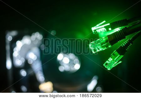 Network Switch And Ethernet Cables, Symbol Of Global Communications. Colored Network Cables On Dark