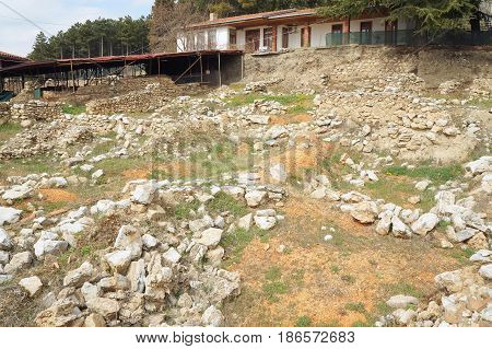 Ruins in Stobi archaeological site in Ohrid, Macedonia