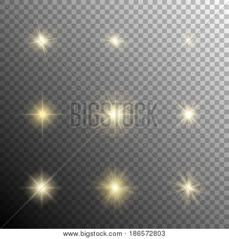 Collection of yellow warm light and glowing effects. Shining stars, sparkles, flares, flashes, etc. Vector illustration