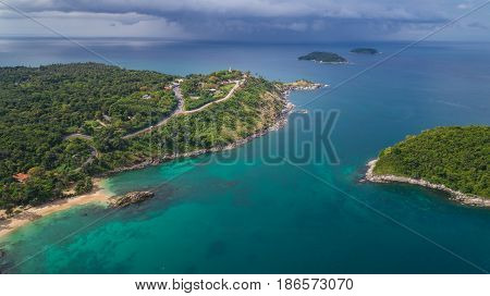 Promthep Cape In Phuket Province, Southern Of Thailand. Promthep Cape Is Very Famous Tourist Destina
