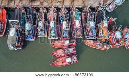 The Big Fishing Boats Standing At The Sea In Phuket, Thailand