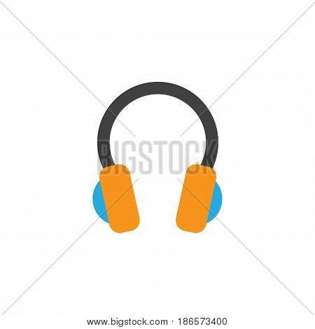 Earpiece Flat Icon Symbol. Premium Quality Isolated Ear Muffs Element In Trendy Style.