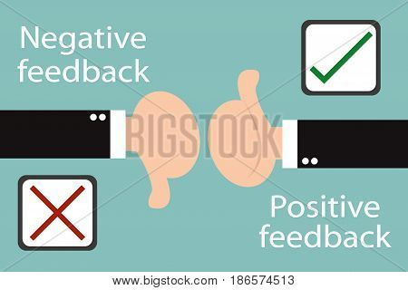 Business hand thumb up with true and false sign  positive and negative feedback concept. Minimal and flat design