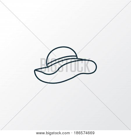 Elegant Headgear Outline Symbol. Premium Quality Isolated Panama Element In Trendy Style.