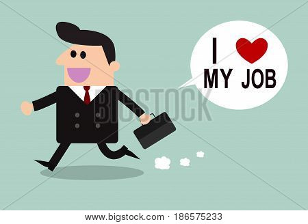Happy businessman. I love my job business concept. Vector illustration.