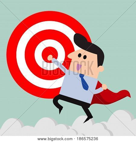 super businessman and Target, Businessman with big target. vector illustration