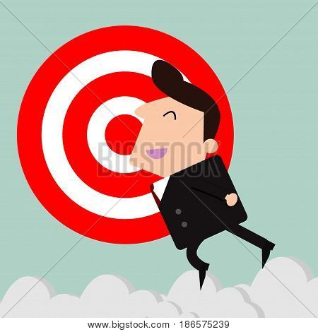 businessman and Target, Businessman with big target. vector illustration