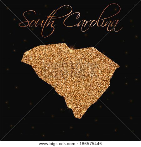 South Carolina State Map Filled With Golden Glitter. Luxurious Design Element, Vector Illustration.
