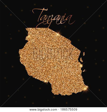 Tanzania Map Filled With Golden Glitter. Luxurious Design Element, Vector Illustration.