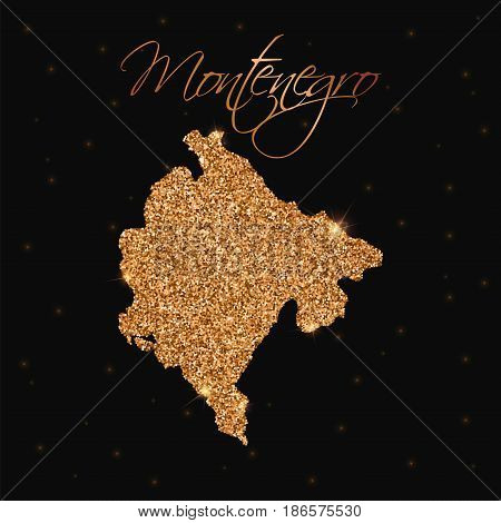 Montenegro Map Filled With Golden Glitter. Luxurious Design Element, Vector Illustration.