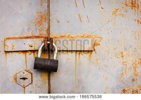 Padlock On The Old Garage Door
