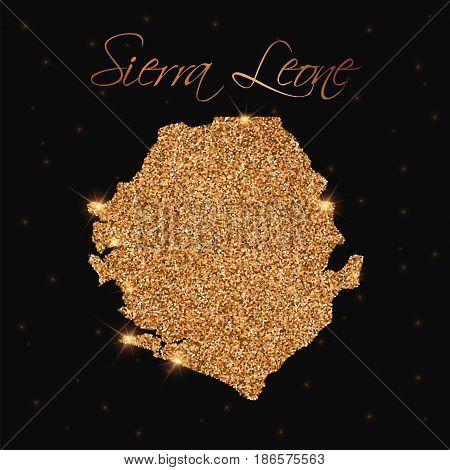 Sierra Leone Map Filled With Golden Glitter. Luxurious Design Element, Vector Illustration.