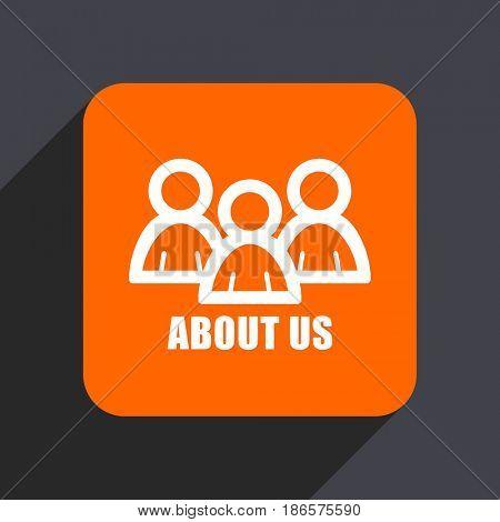 About us orange flat design web icon isolated on gray background