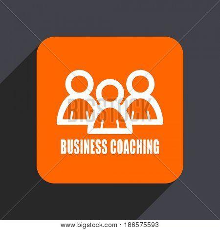 Business coaching orange flat design web icon isolated on gray background