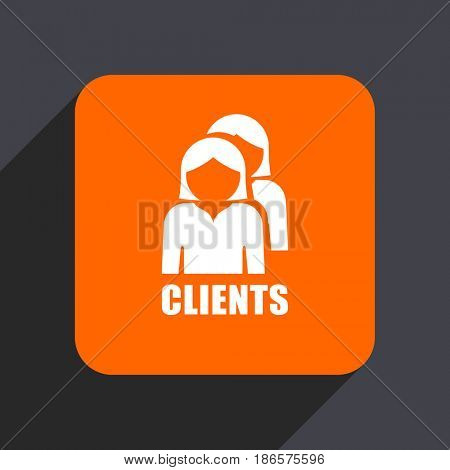 Clients orange flat design web icon isolated on gray background