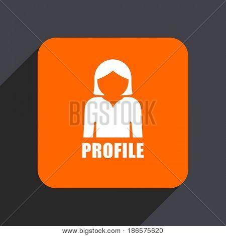Profile orange flat design web icon isolated on gray background