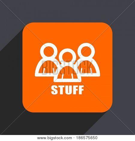 Stuff orange flat design web icon isolated on gray background
