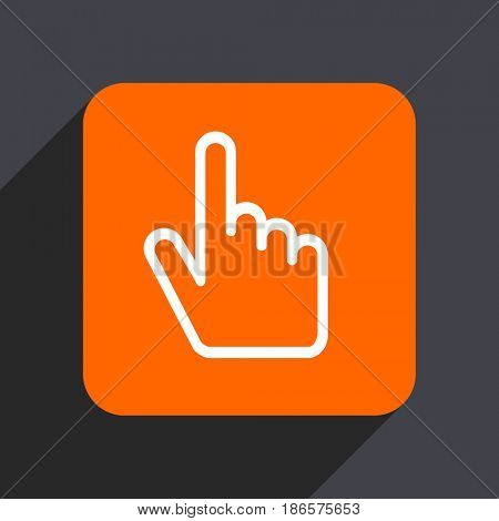 Cursor hand orange flat design web icon isolated on gray background