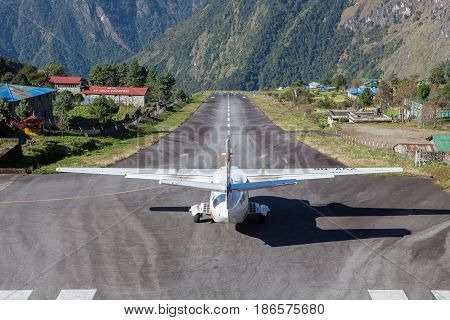 Lukla/nepal - October 18, 2015: Small Airplane Getting Ready For Take Off From Tenzing-hillary Airpo