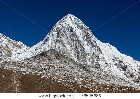 Pumori Mountain And Kala Patthar - Mount Everest View Point. Trail Leading Up To Kala Patthar Hill.