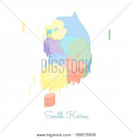 South Korea Region Map: Colorful Isometric Top View. Detailed Map Of South Korea Regions. Vector Ill