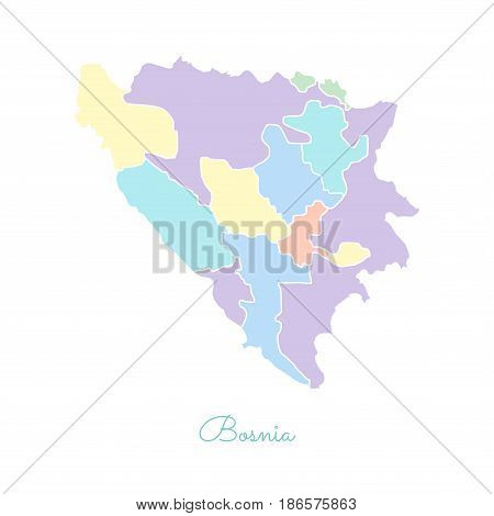 Bosnia Region Map: Colorful With White Outline. Detailed Map Of Bosnia Regions. Vector Illustration.
