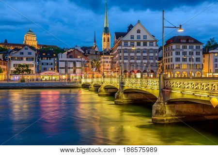 Night view of historic Zurich city center on summer, Canton of Zurich, Switzerland.