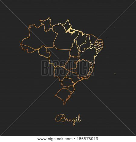 Brazil Region Map: Golden Gradient Outline On Dark Background. Detailed Map Of Brazil Regions. Vecto