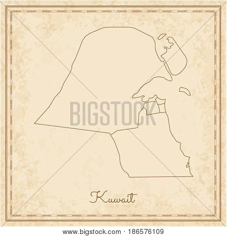 Kuwait Region Map: Stilyzed Old Pirate Parchment Imitation. Detailed Map Of Kuwait Regions. Vector I