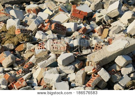 Pile of broken concrete blocks. Construction debris.