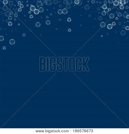 Soap Bubbles. Abstract Top Border With Soap Bubbles On Deep Blue Background. Vector Illustration.