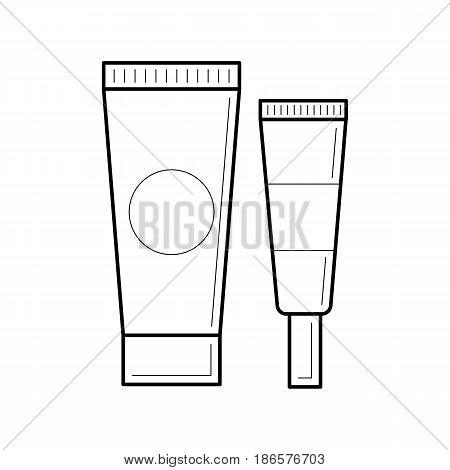 Thin line cosmetic icon. Empty and clean tubes with cap for cosmetic cream or body lotion. Outline container for care face and beauty skin or medical gel. Mock-up of package.