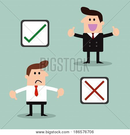 businessman and Stickers with check marks and x symbols - Illustration Vector