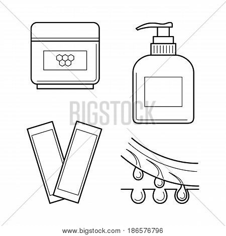 Vector icons set of tools for waxing procedure. Cosmetic equipment for epilation: strips, wax and aftershave cream. Hair removing symbols in thin line style. Outline simple isolated illustrations