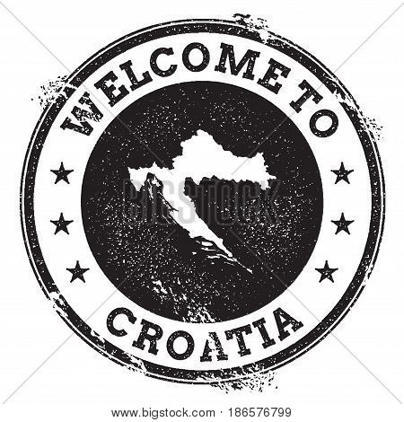 Vintage Passport Welcome Stamp With Croatia Map. Grunge Rubber Stamp With Welcome To Croatia Text, V