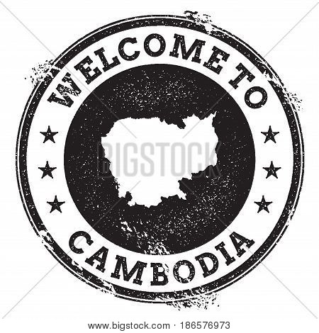 Vintage Passport Welcome Stamp With Cambodia Map. Grunge Rubber Stamp With Welcome To Cambodia Text,