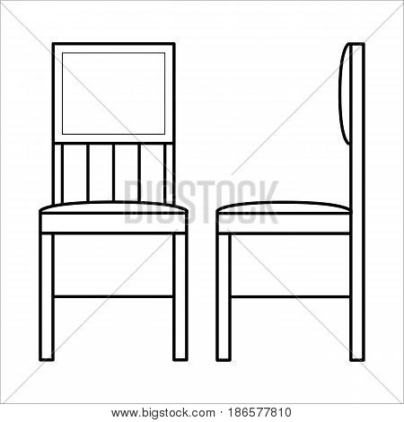 Wooden chair, home furniture lineart design, hand drawn sketch of single object, interior concept, vector illustration on white background, front and side view