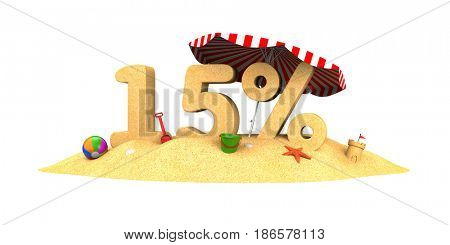 Sale season - 15% - the digits of sand. 3d illustration