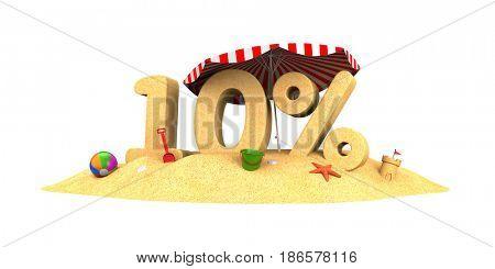 Sale season - 10% - the digits of sand. 3d illustration