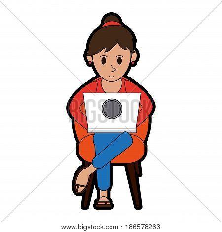 person using laptop computer icon image vector illustration design