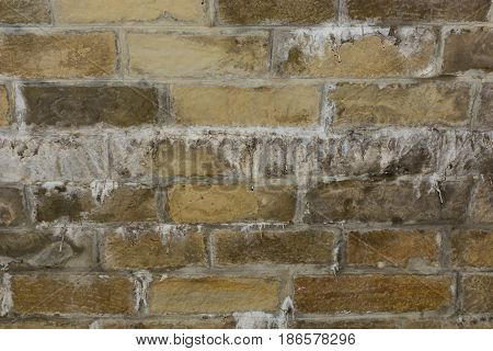 Background. The wall is made of old brown bricks with stalactites.