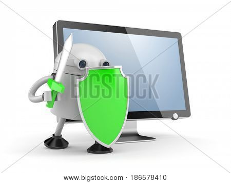 Robot defends the desktop computer. Robot with red shield and sword. 3d illustration