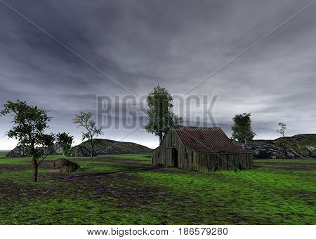 antiquated and abandoned Old Barn 3d rendering
