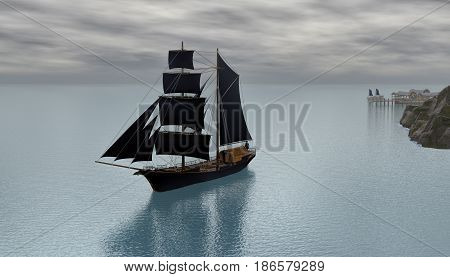 3d rendering of an sailling  ship early in morning leaving dock